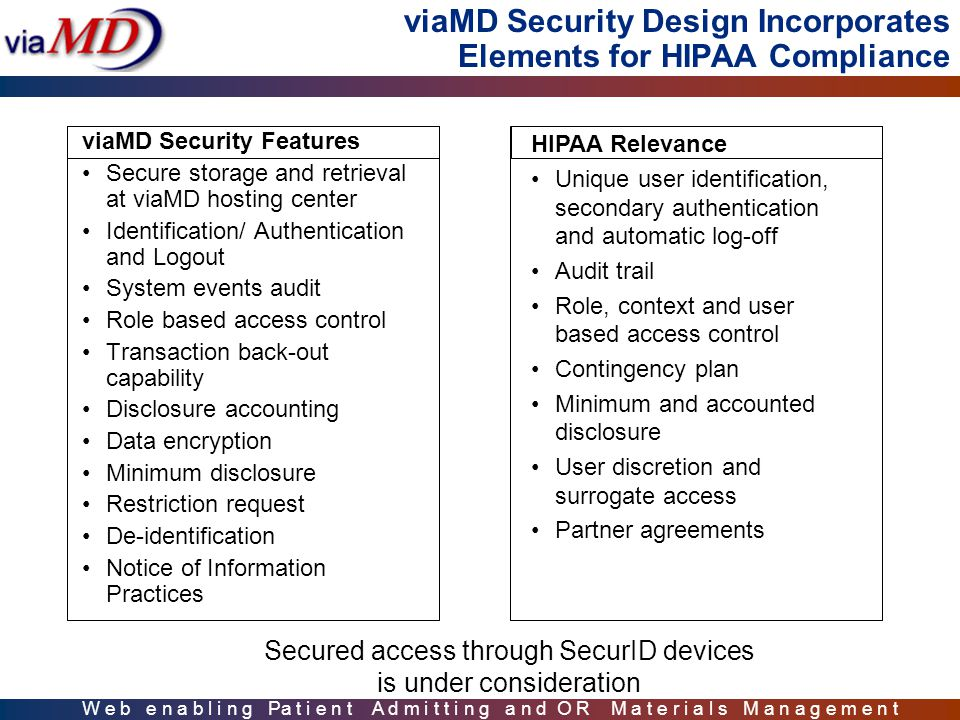 W e b e n a b l i n g Pa t i e n t A d m i t t i n g a n d O R M a t e r i a l s M a n a g e m e n t viaMD Security Design Incorporates Elements for HIPAA Compliance viaMD Security Features Secure storage and retrieval at viaMD hosting center Identification/ Authentication and Logout System events audit Role based access control Transaction back-out capability Disclosure accounting Data encryption Minimum disclosure Restriction request De-identification Notice of Information Practices HIPAA Relevance Unique user identification, secondary authentication and automatic log-off Audit trail Role, context and user based access control Contingency plan Minimum and accounted disclosure User discretion and surrogate access Partner agreements Secured access through SecurID devices is under consideration