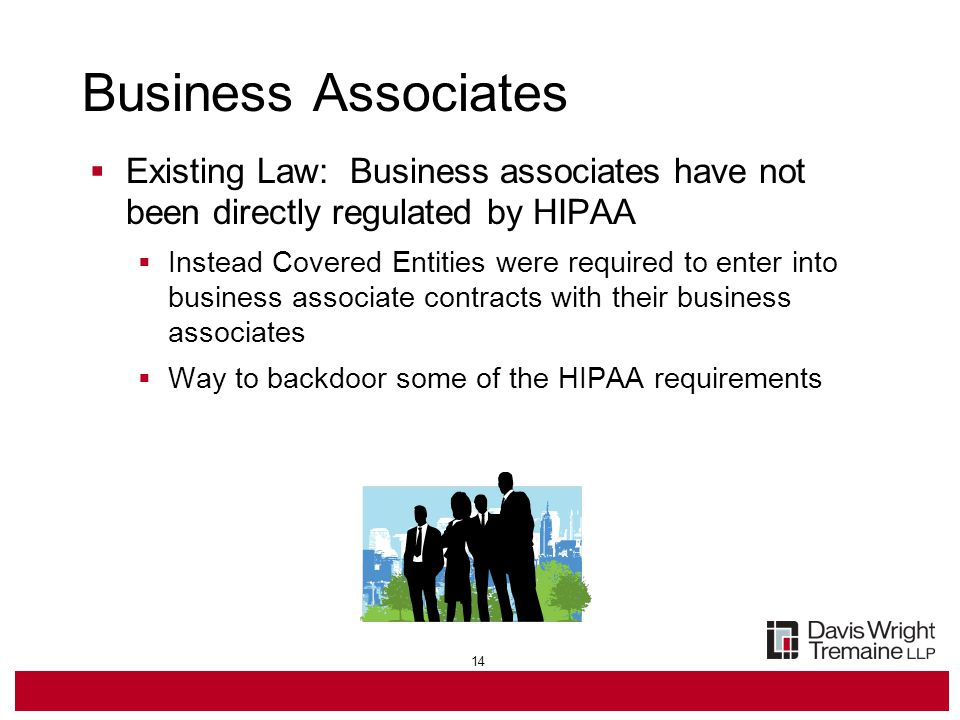 14 Business Associates  Existing Law: Business associates have not been directly regulated by HIPAA  Instead Covered Entities were required to enter into business associate contracts with their business associates  Way to backdoor some of the HIPAA requirements