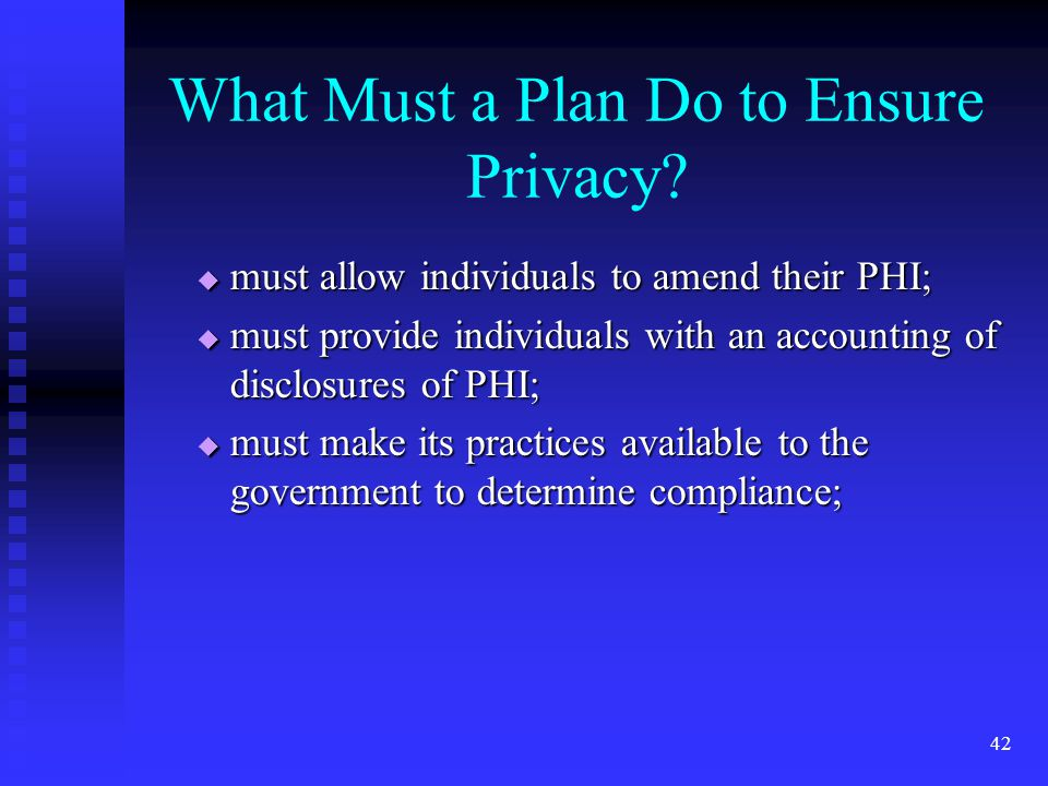42 What Must a Plan Do to Ensure Privacy.