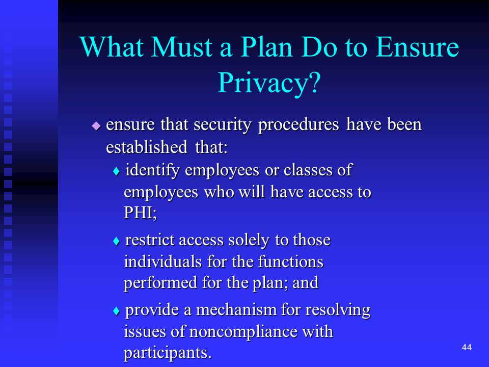 44 What Must a Plan Do to Ensure Privacy.