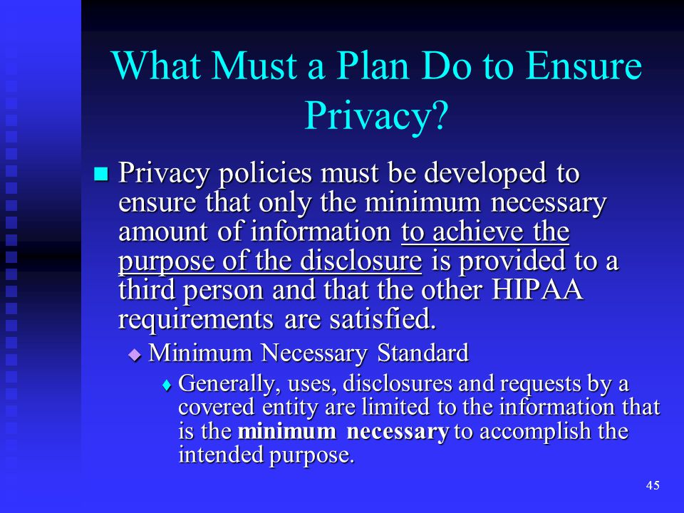 45 What Must a Plan Do to Ensure Privacy.