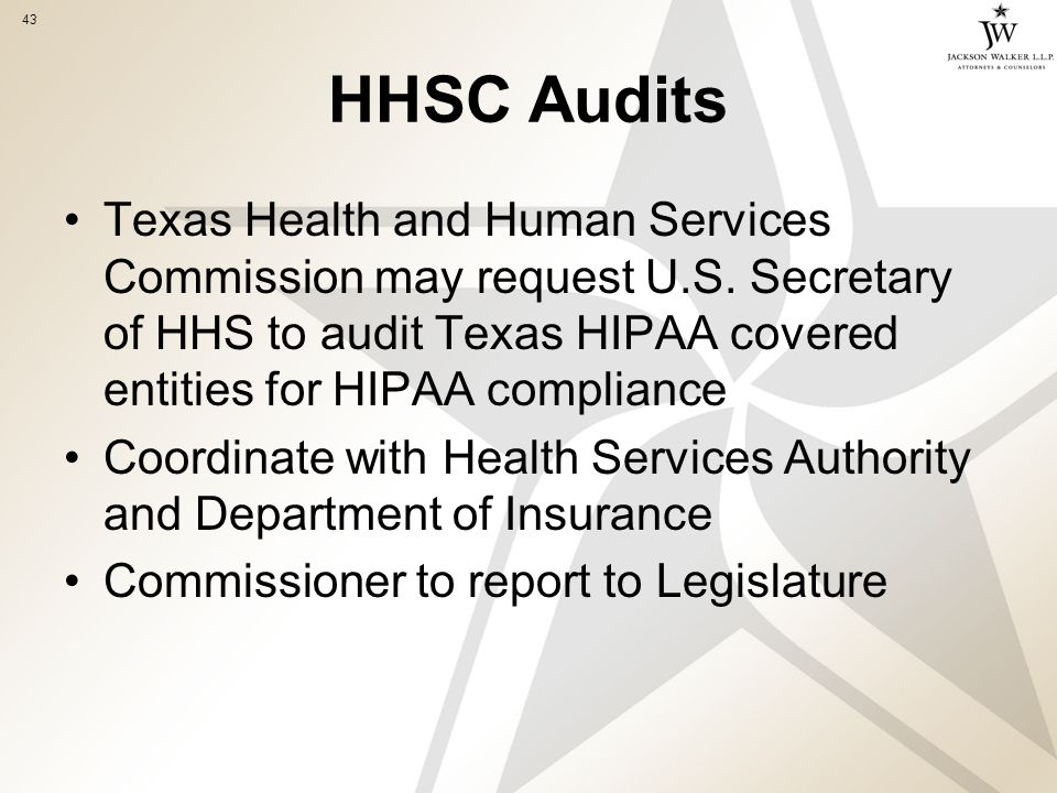 43 HHSC Audits Texas Health and Human Services Commission may request U.S.