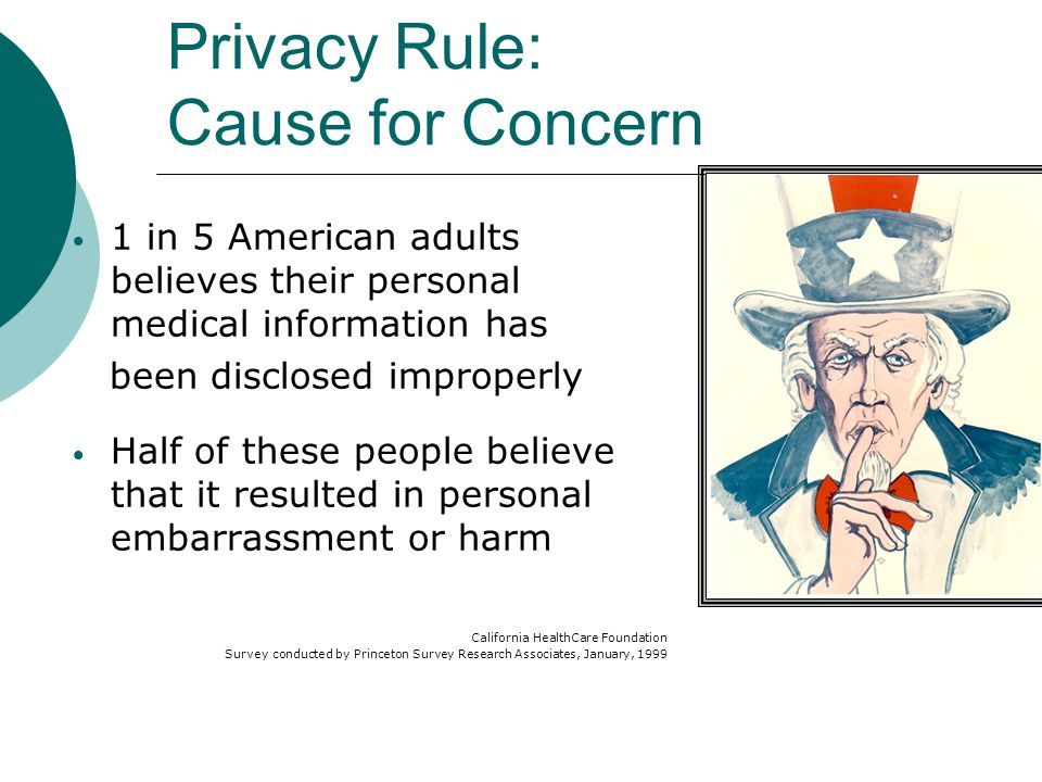 1 in 7 Americans has tried to keep their medical information confidential Withhold information Provide inaccurate information Doctor-hop Pay out-of-pocket for care Avoid care altogether California HealthCare Foundation Survey conducted by Princeton Survey Research Associates January 1999 Privacy Rule: Cause for Concern