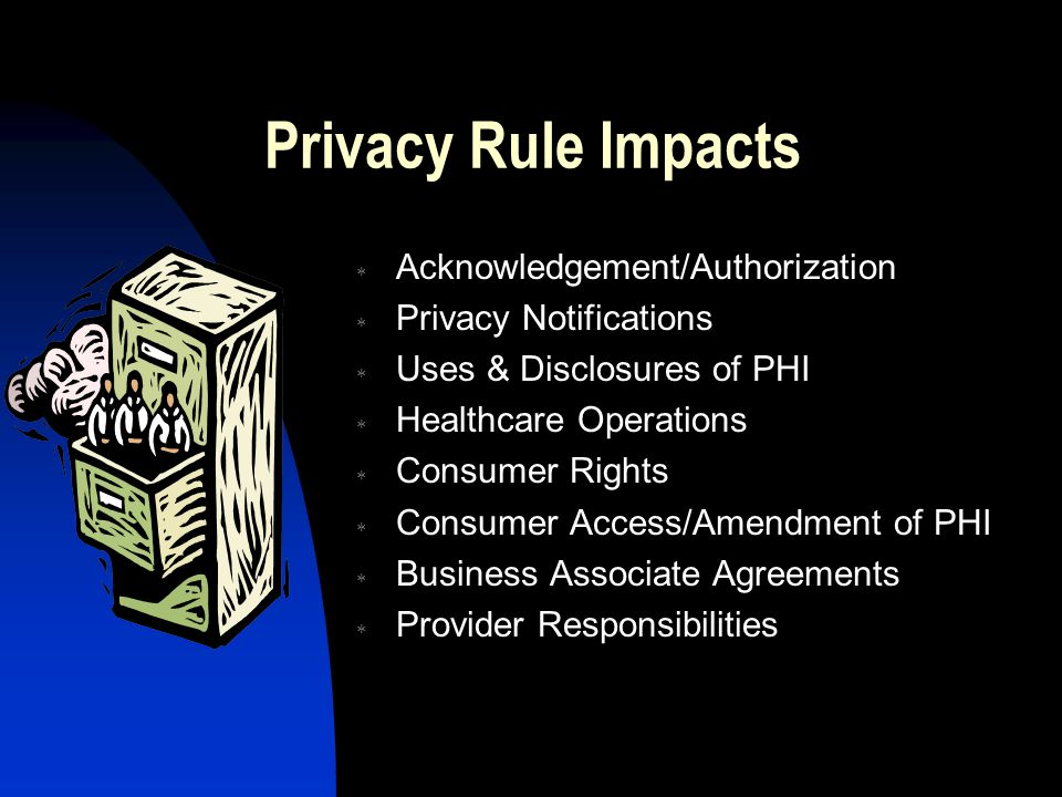 Privacy Rule Impacts  Acknowledgement/Authorization  Privacy Notifications  Uses & Disclosures of PHI  Healthcare Operations  Consumer Rights  C