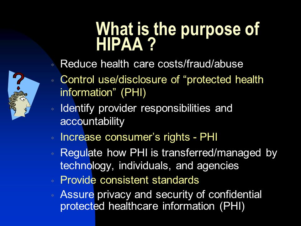 Administrative Simplification HIPAA Regulations and Deadlines  Privacy Regulations - Identifies what health care information is protected.