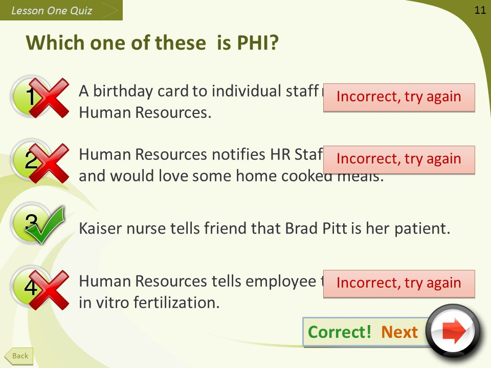 Which one of these is PHI. A birthday card to individual staff members for Human Resources.