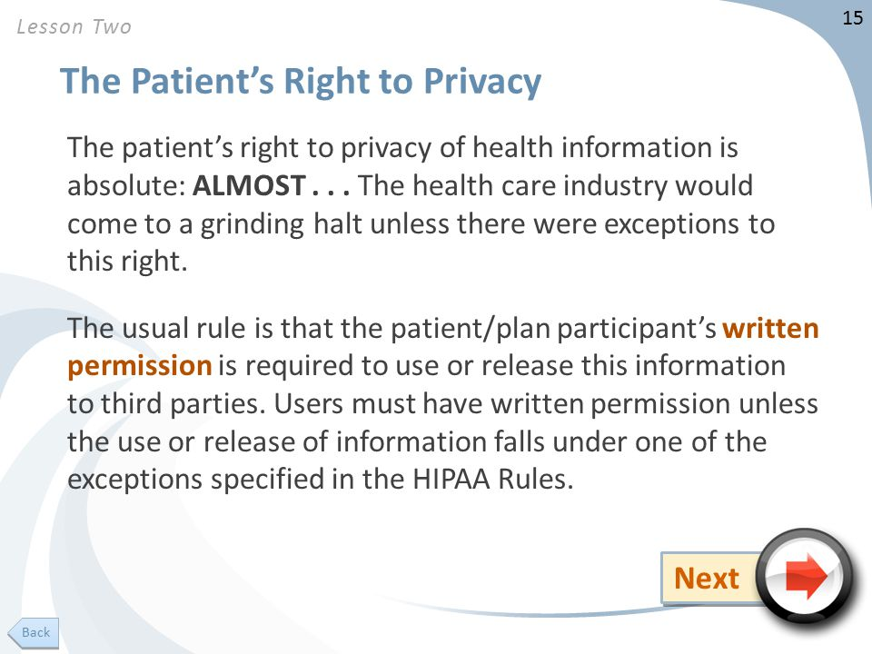 15 The Patient's Right to Privacy The patient's right to privacy of health information is absolute: ALMOST...