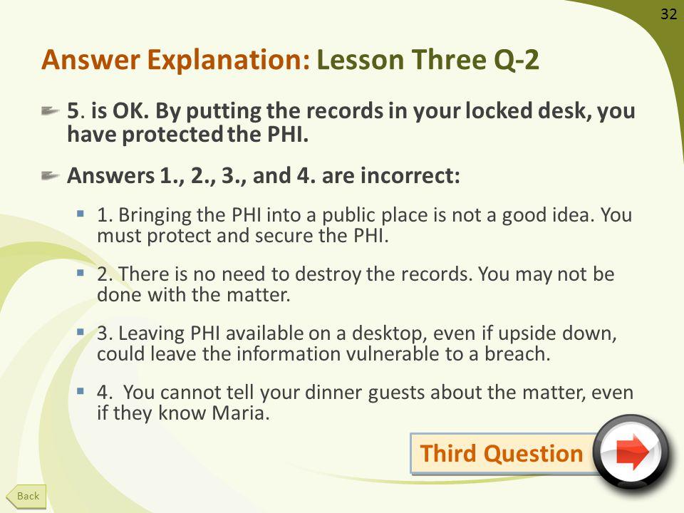 Answer Explanation: Lesson Three Q-2 5. is OK.