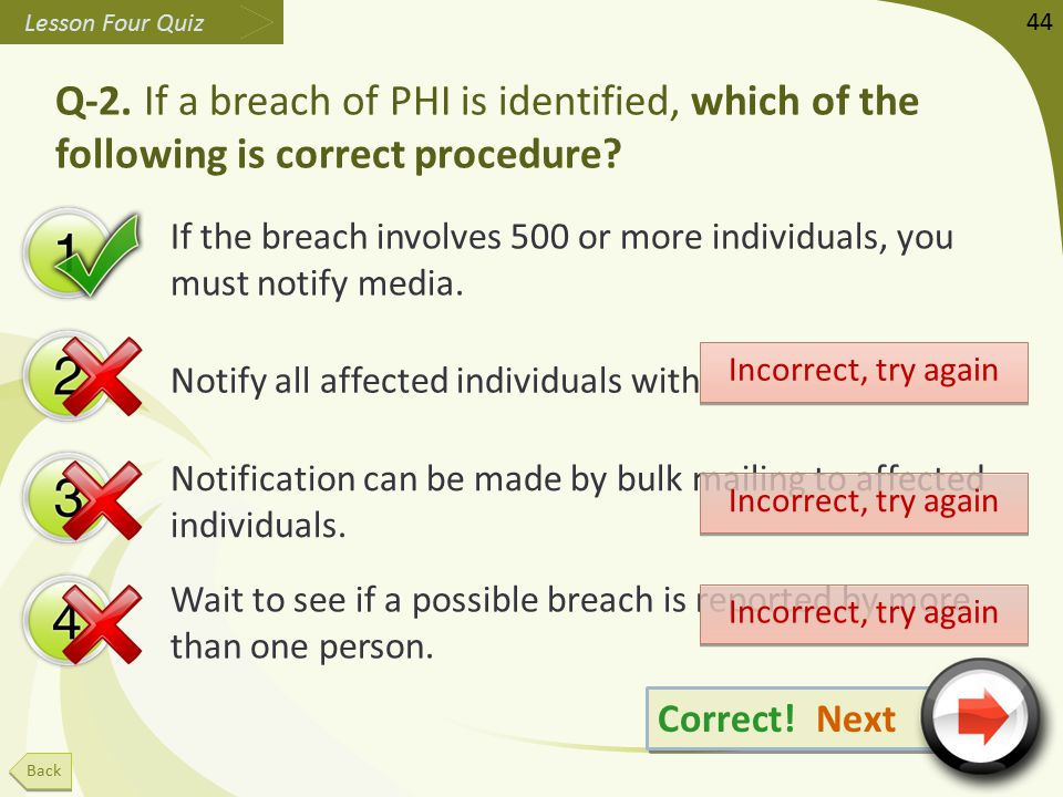 Q-2. If a breach of PHI is identified, which of the following is correct procedure.