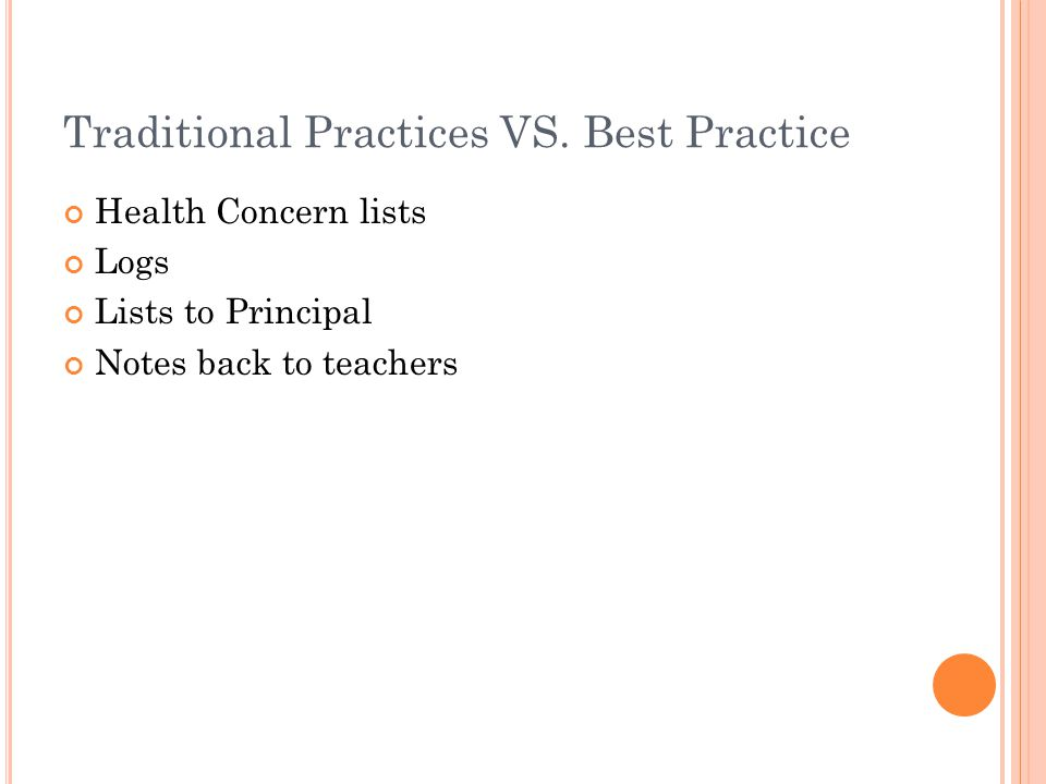 Traditional Practices VS.