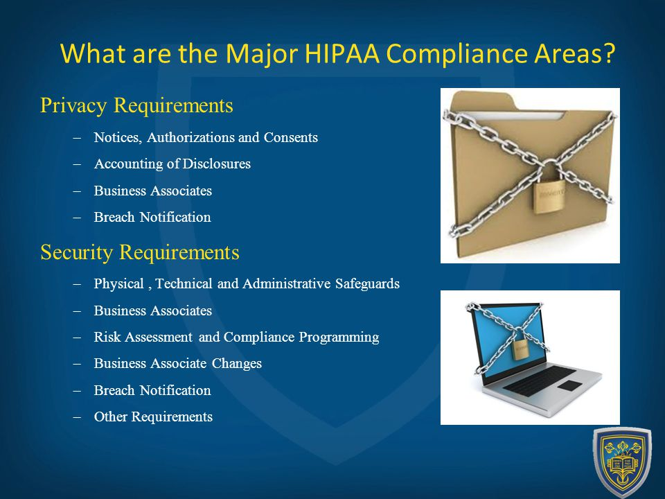 What are the Major HIPAA Compliance Areas.