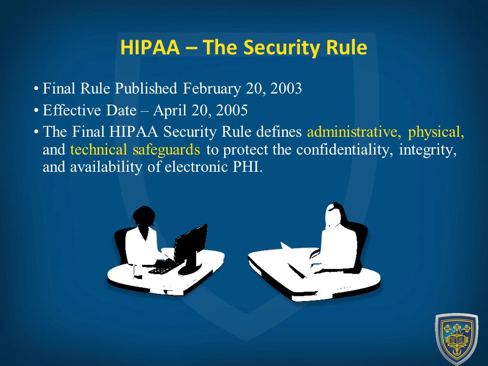 HIPAA – The Security Rule Final Rule Published February 20, 2003 Effective Date – April 20, 2005 The Final HIPAA Security Rule defines administrative, physical, and technical safeguards to protect the confidentiality, integrity, and availability of electronic PHI.