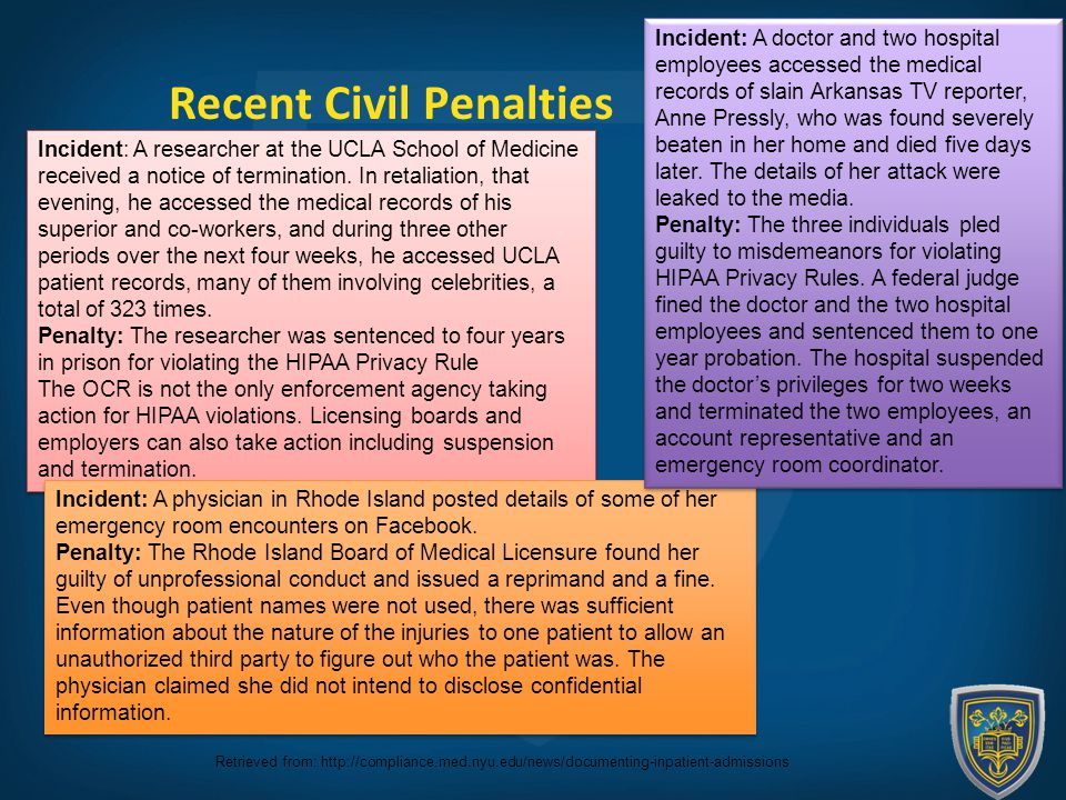 Recent Civil Penalties Incident: A researcher at the UCLA School of Medicine received a notice of termination.