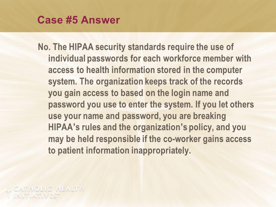Case #5 Answer No.