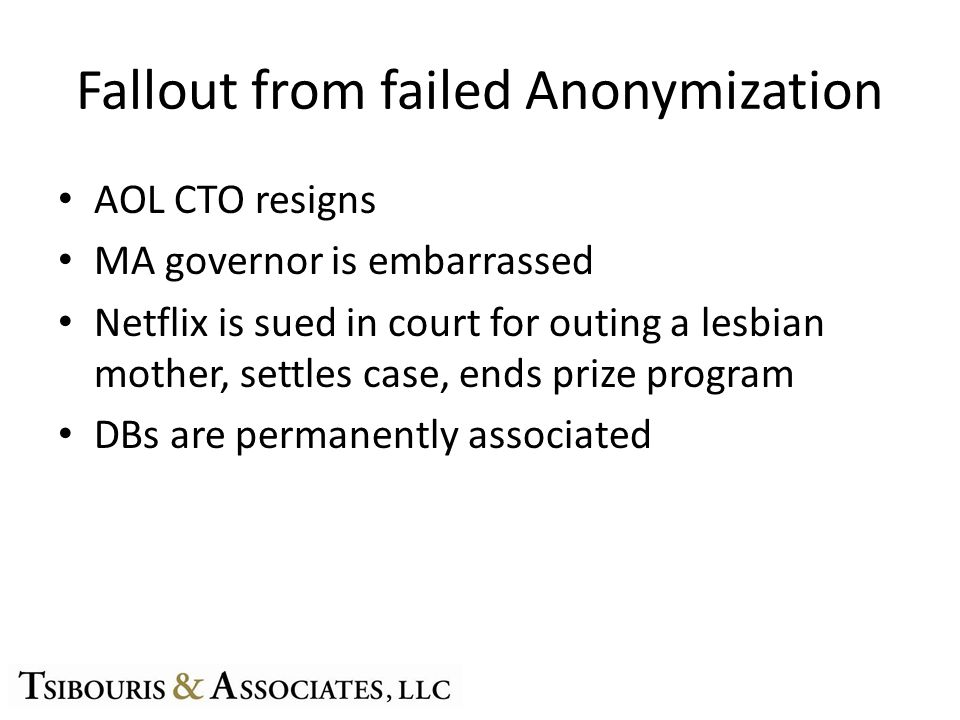 Fallout from failed Anonymization AOL CTO resigns MA governor is embarrassed Netflix is sued in court for outing a lesbian mother, settles case, ends