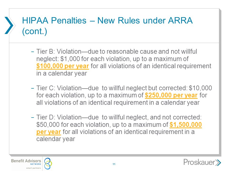 11 HIPAA Penalties – New Rules under ARRA (cont.) ­ Tier B: Violation—due to reasonable cause and not willful neglect: $1,000 for each violation, up to a maximum of $100,000 per year for all violations of an identical requirement in a calendar year ­ Tier C: Violation—due to willful neglect but corrected: $10,000 for each violation, up to a maximum of $250,000 per year for all violations of an identical requirement in a calendar year ­ Tier D: Violation—due to willful neglect, and not corrected: $50,000 for each violation, up to a maximum of $1,500,000 per year for all violations of an identical requirement in a calendar year