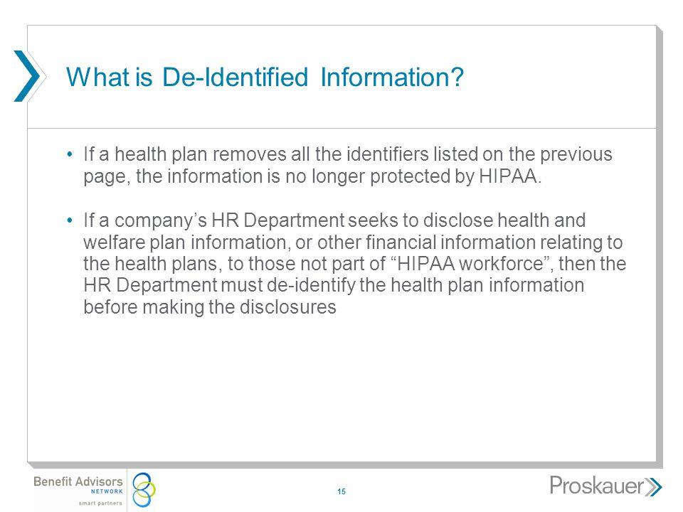 15 What is De-Identified Information.