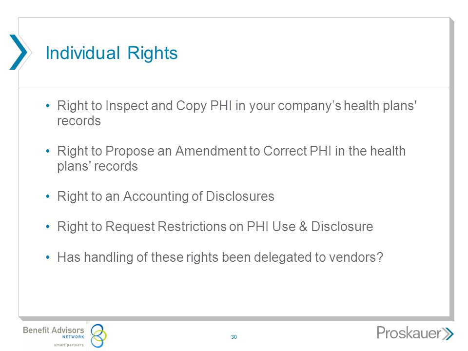 30 Individual Rights Right to Inspect and Copy PHI in your company's health plans records Right to Propose an Amendment to Correct PHI in the health plans records Right to an Accounting of Disclosures Right to Request Restrictions on PHI Use & Disclosure Has handling of these rights been delegated to vendors