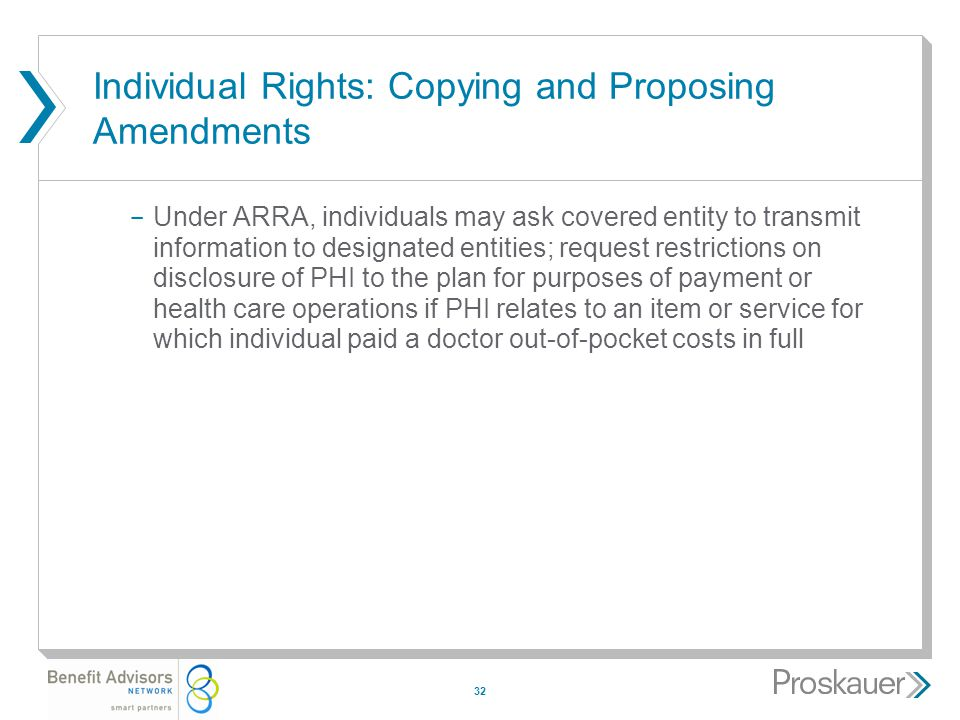 32 Individual Rights: Copying and Proposing Amendments ­ Under ARRA, individuals may ask covered entity to transmit information to designated entities; request restrictions on disclosure of PHI to the plan for purposes of payment or health care operations if PHI relates to an item or service for which individual paid a doctor out-of-pocket costs in full