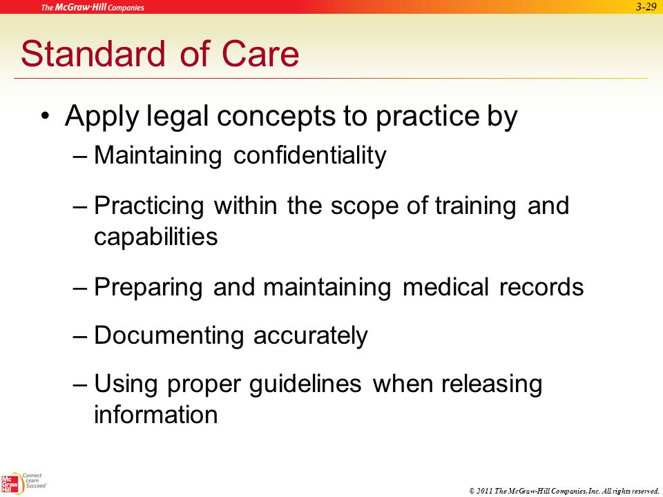 © 2011 The McGraw-Hill Companies, Inc. All rights reserved. 3-28 Terminating Care of a Patient Reasons for terminating care of a patient –Refusal to f