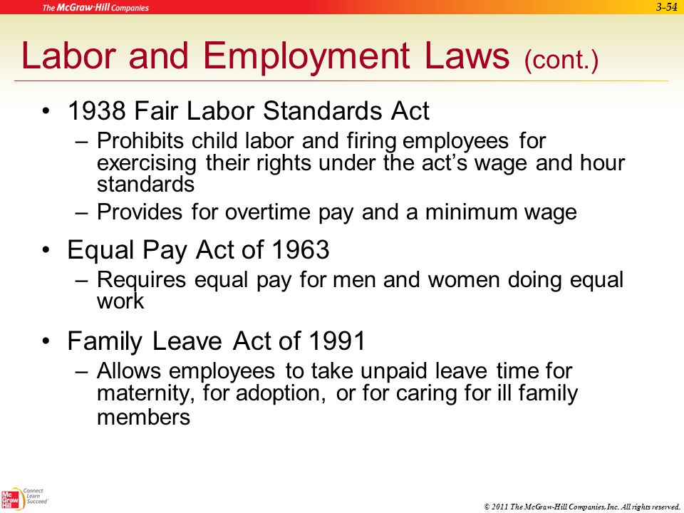 © 2011 The McGraw-Hill Companies, Inc. All rights reserved. 3-53 Labor and Employment Laws (cont.) Titles I and V of the Americans with Disabilities A