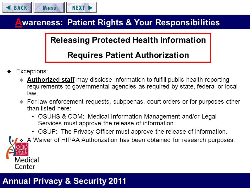 Annual Privacy & Security 2011 A wareness: Patient Rights & Your Responsibilities  Exceptions:  Authorized staff may disclose information to fulfill