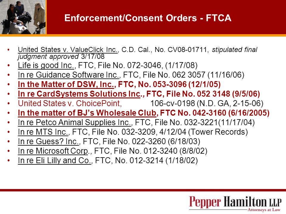 Enforcement/Consent Orders - FTCA United States v.