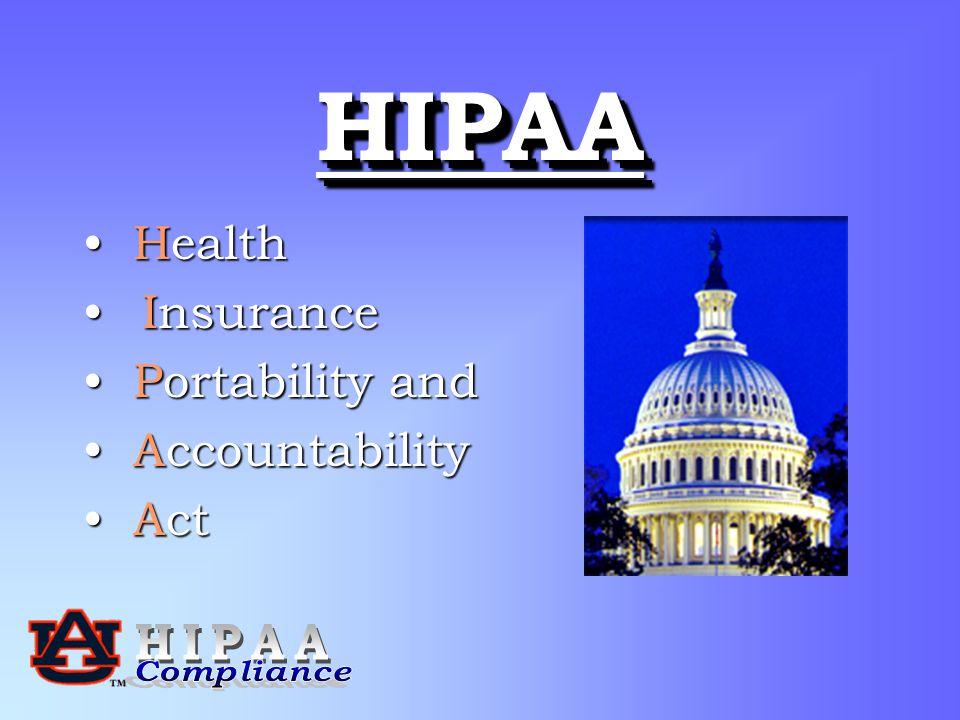 HIPAAHIPAA Health Health Insurance Insurance Portability and Portability and Accountability Accountability Act Act