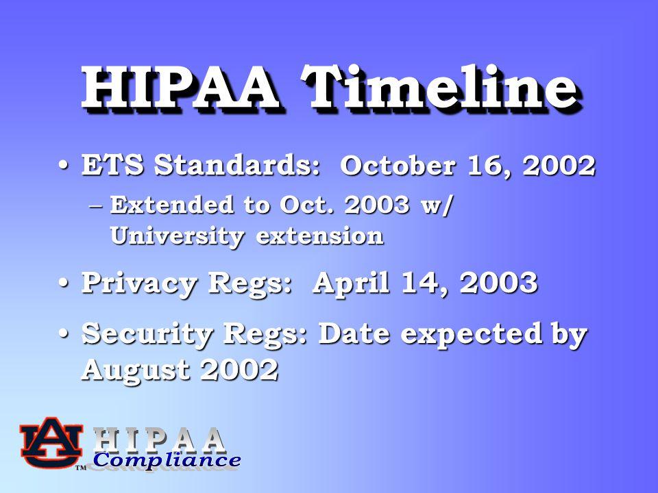 HIPAA Timeline ETS Standards : October 16, 2002 ETS Standards : October 16, 2002 – Extended to Oct.
