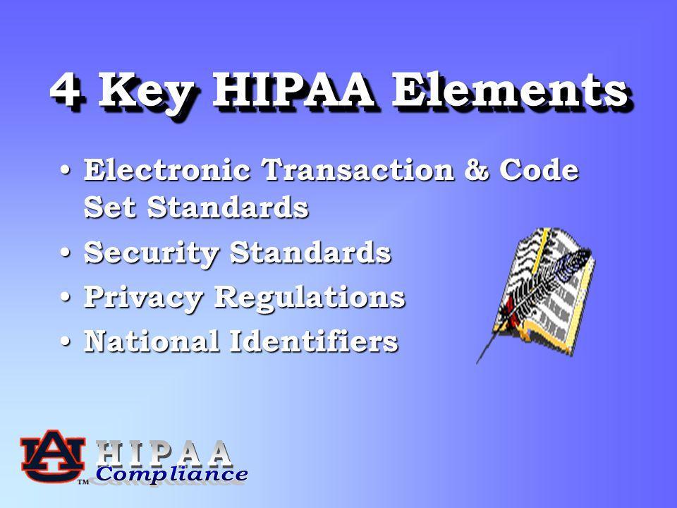 4 Key HIPAA Elements Electronic Transaction & Code Set Standards Electronic Transaction & Code Set Standards Security Standards Security Standards Privacy Regulations Privacy Regulations National Identifiers National Identifiers