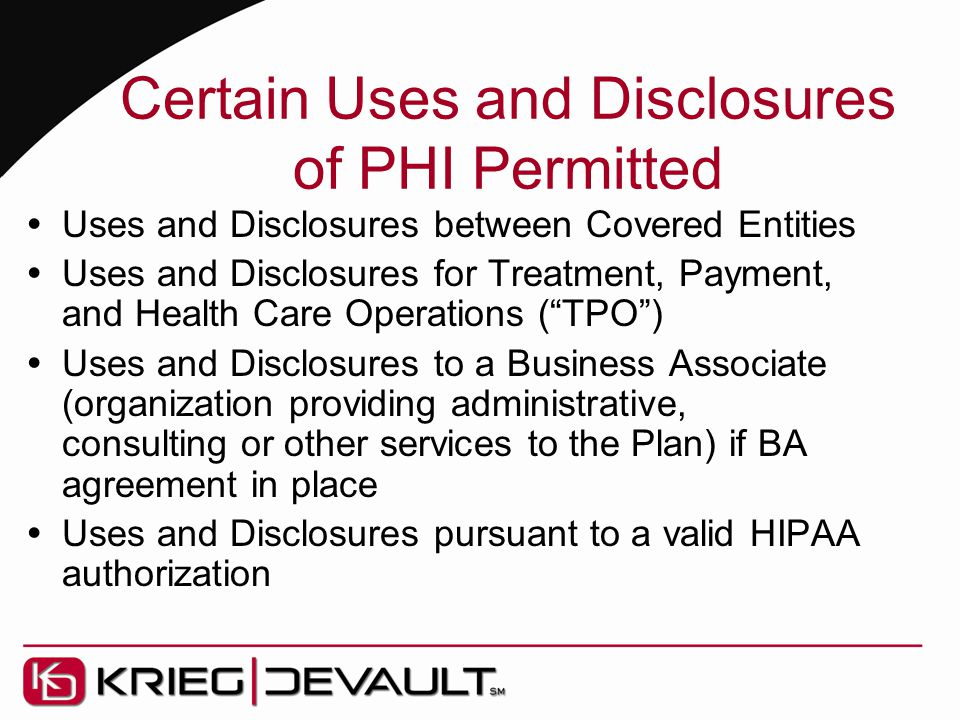 Certain Uses and Disclosures of PHI Permitted  Uses and Disclosures between Covered Entities  Uses and Disclosures for Treatment, Payment, and Healt