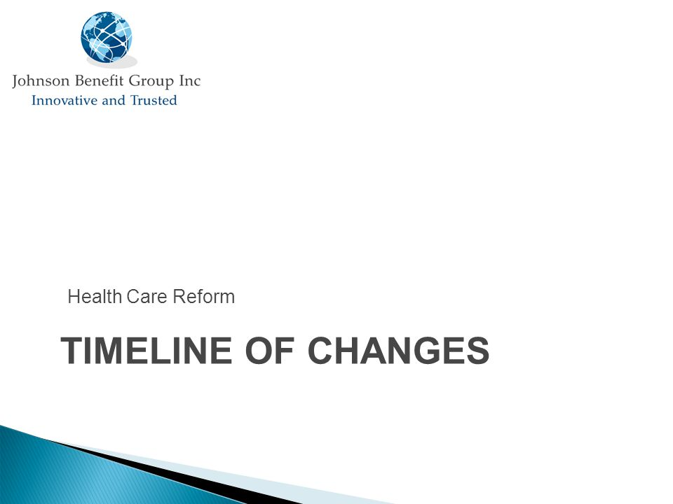 TIMELINE OF CHANGES Health Care Reform