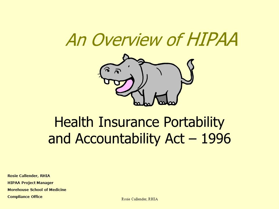 Rosie Callender, RHIA An Overview of HIPAA Health Insurance Portability and Accountability Act – 1996 Rosie Callender, RHIA HIPAA Project Manager More