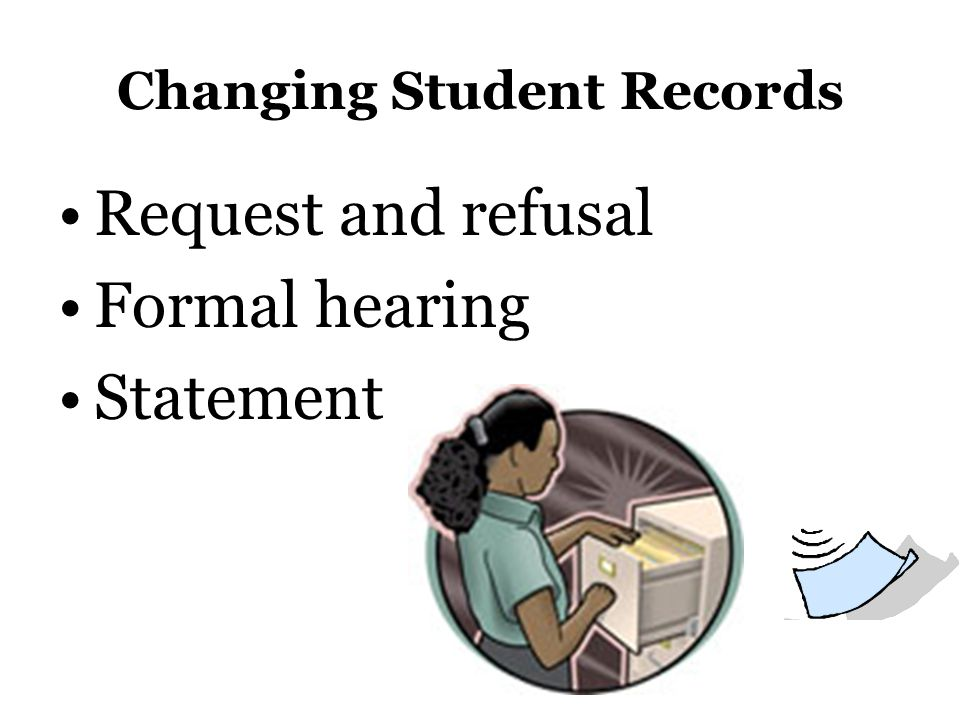 Changing Student Records Request and refusal Formal hearing Statement