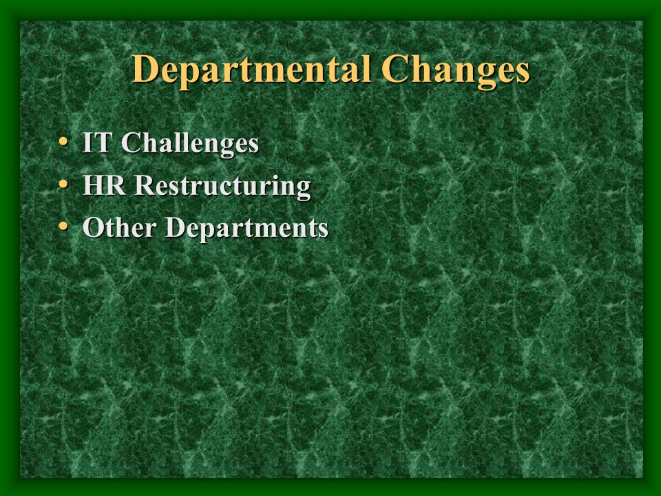 Departmental Changes IT Challenges IT Challenges HR Restructuring HR Restructuring Other Departments Other Departments