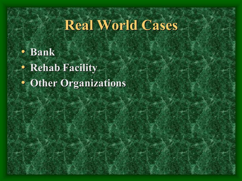 Real World Cases Bank Bank Rehab Facility Rehab Facility Other Organizations Other Organizations