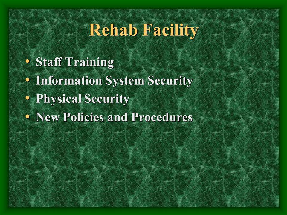 Rehab Facility Staff Training Staff Training Information System Security Information System Security Physical Security Physical Security New Policies and Procedures New Policies and Procedures