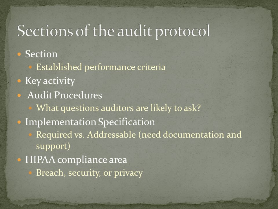Section Established performance criteria Key activity Audit Procedures What questions auditors are likely to ask.