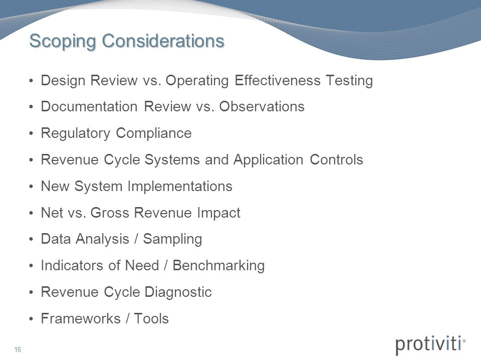 16 Scoping Considerations Design Review vs.