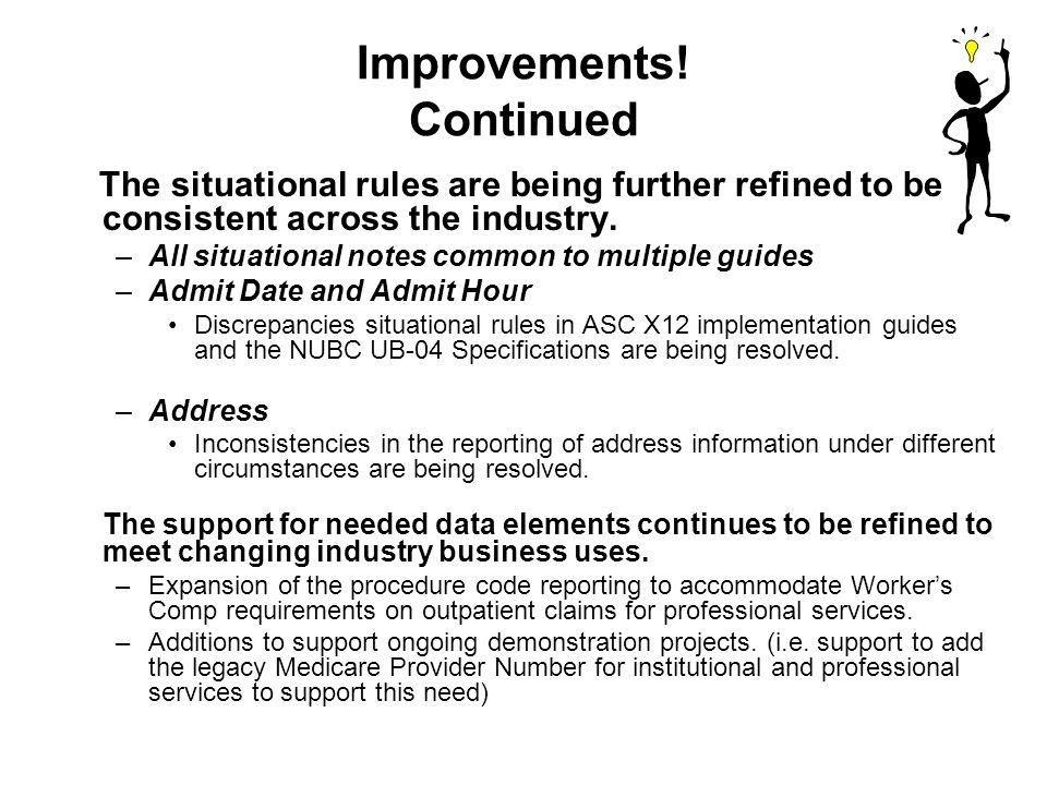 Improvements! Continued The situational rules are being further refined to be consistent across the industry. –All situational notes common to multipl