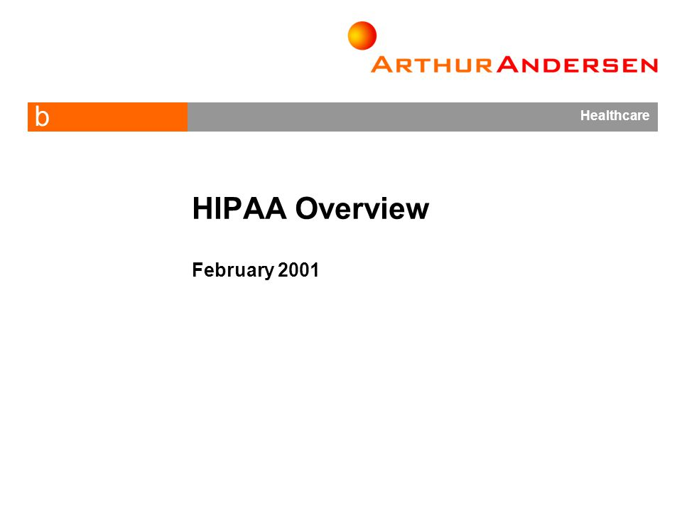 b Healthcare HIPAA Overview February 2001