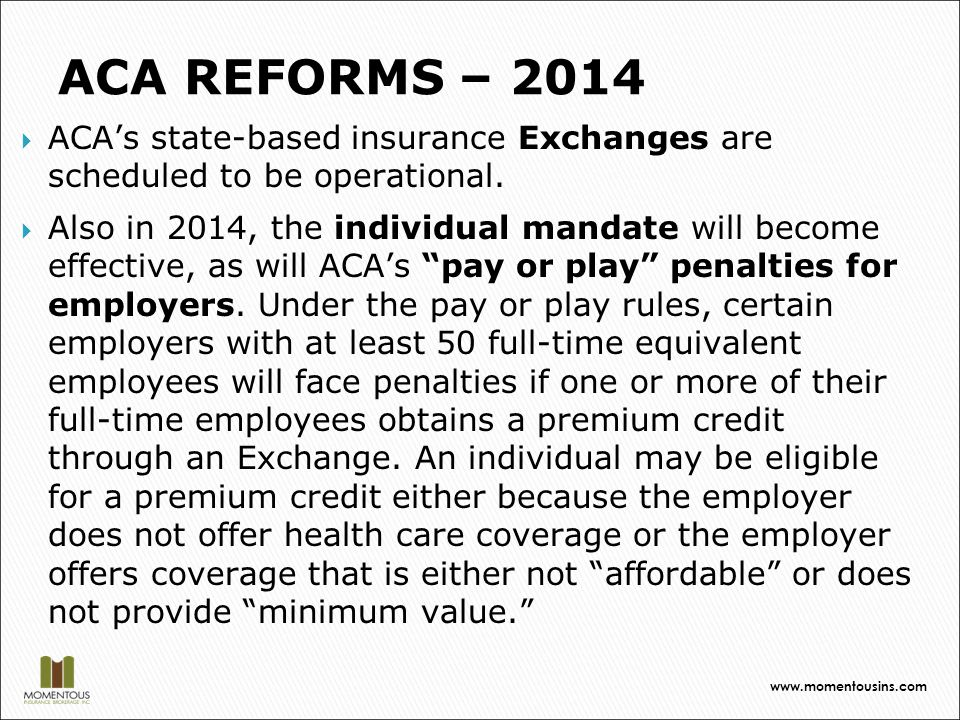  ACA's state-based insurance Exchanges are scheduled to be operational.