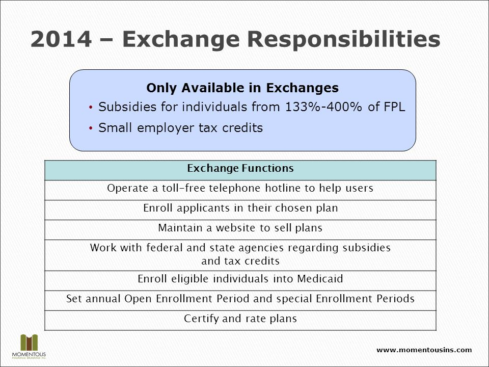 2014 – Exchange Responsibilities Exchange Functions Operate a toll-free telephone hotline to help users Enroll applicants in their chosen plan Maintain a website to sell plans Work with federal and state agencies regarding subsidies and tax credits Enroll eligible individuals into Medicaid Set annual Open Enrollment Period and special Enrollment Periods Certify and rate plans Only Available in Exchanges Subsidies for individuals from 133%-400% of FPL Small employer tax credits www.momentousins.com