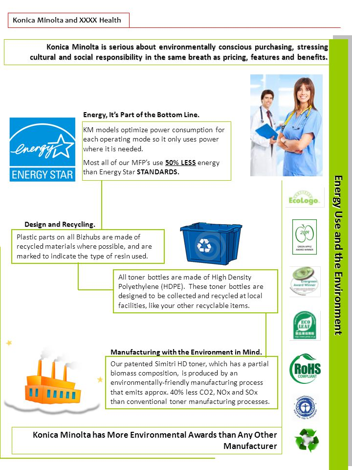 Konica Minolta and XXXX Health Energy Useand the Environment Energy Use and the Environment Konica Minolta is serious about environmentally conscious purchasing, stressing cultural and social responsibility in the same breath as pricing, features and benefits.