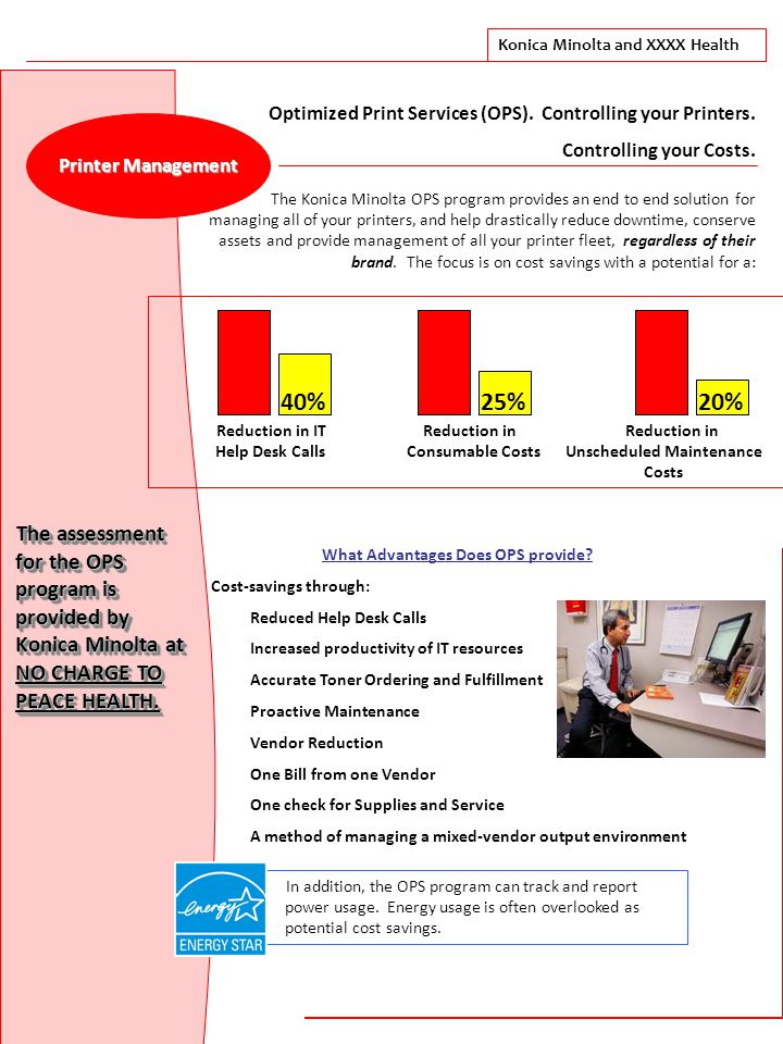 Konica Minolta and XXXX Health Printer Management Optimized Print Services (OPS).