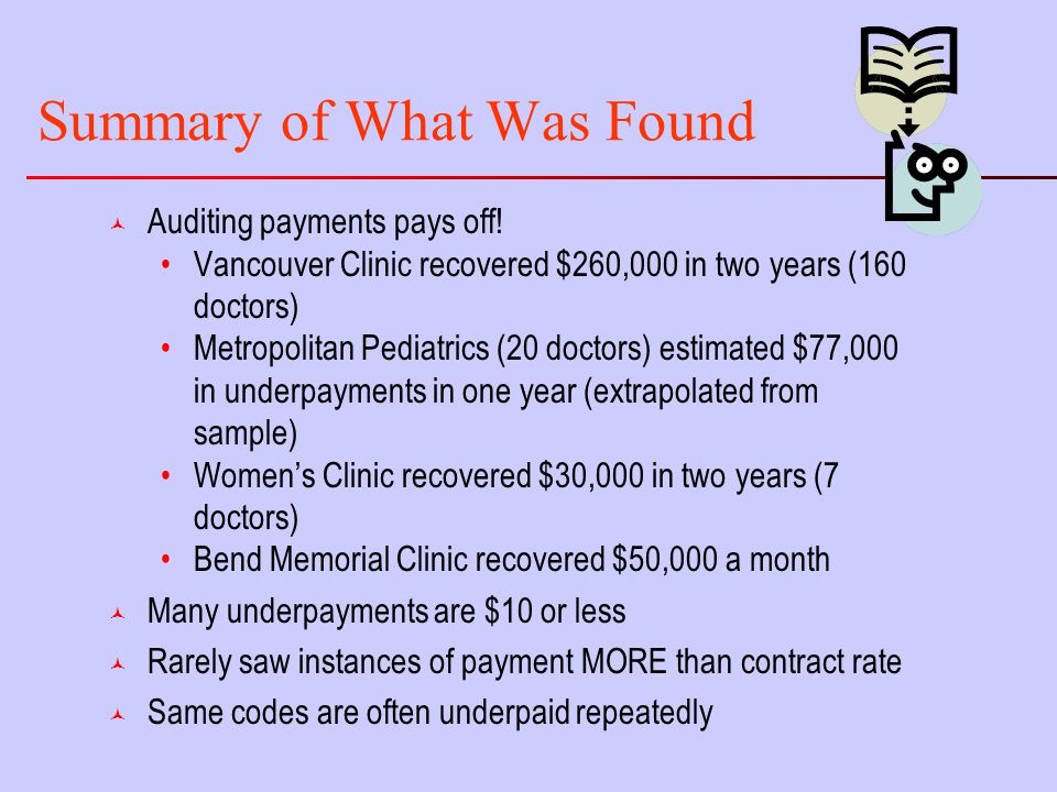 Summary of What Was Found © Auditing payments pays off.