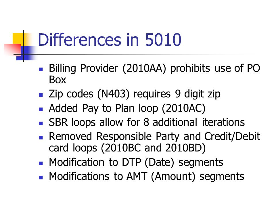 Differences in 5010 cont'd Expansion of number of diagnosis codes to 12 HI segment allows for ICD-10 Added Ambulance Drop off and Pick Up loops Added Anesthesia Related Procedure HI segment Added Condition Code HI segment Added freeform narrative note at line level Removed Purchased Service loop (2310C), loop sequence restructured and reused