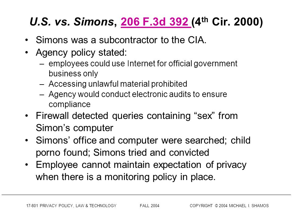 17-801 PRIVACY POLICY, LAW & TECHNOLOGY FALL 2004 COPYRIGHT © 2004 MICHAEL I. SHAMOS Skinner vs. Railway Labor Executives Assoc., 489 U.S. 602 (1989)4