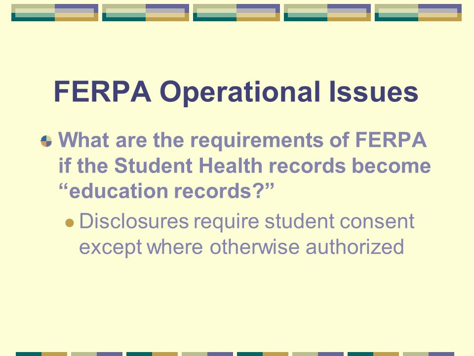 Selected Operational Issues for NCSU Regulatory Issues 4/16/03 HIPAA Privacy Rule FERPA Coordination of FERPA & HIPAA Accountability Security/Privacy Uses/Disclosures Access Student Health Records Administrative Requirements Penalties Privacy Disclosures State Law Record Keeping Access