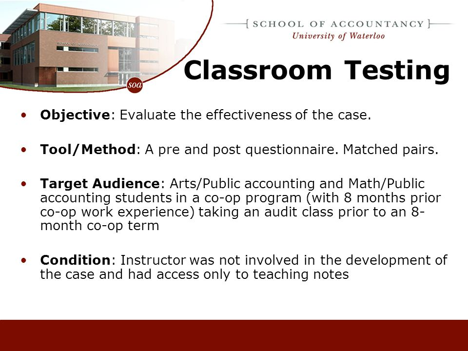 Classroom Testing Objective: Evaluate the effectiveness of the case.